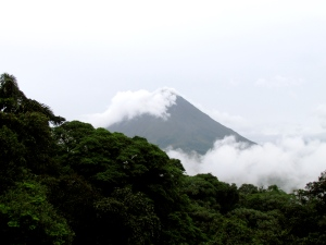 The Arenal Volcano; photo taken from a hanging bridge in a rainforest