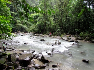 Swimming at the base of La Fortuna Waterfall