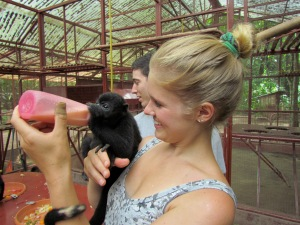 Playing with monkeys in Costa Rica!